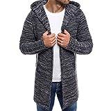 Bellelove Tricot à Capuche Long pour Hommes Tricotage en Tricot uni en Trench-Coat Pull à Tricoter Veste Cardigan À Manches Longues Outwear Blouse