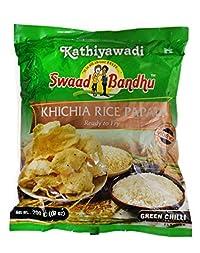 Swadbandhu Kathiyawadi Rice Papad - Khichia Rice Papad - Green Chilli Flavoured Papad - Hygienically Prepared - Ready to Fry/Roast Papadums - Best Meal Accompaniment - 800g (200g x Pack of 4)