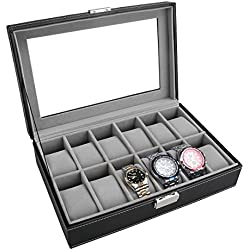 PIXNOR Watch Box - Elegant Storage For Up To 12 Wristwatches