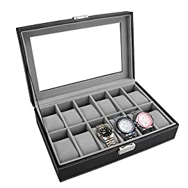 PIXNOR Watch Box – Elegant Storage for Up to 6/12 Wristwatches Jewellery Bracelet Collections