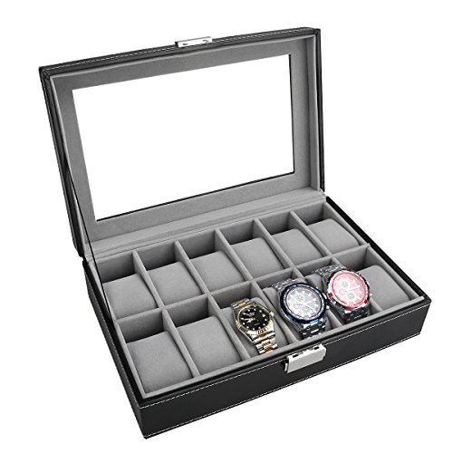 - 51z1WkU4j1L - PIXNOR Watch Box – Elegant Storage For Up To 12 Wristwatches