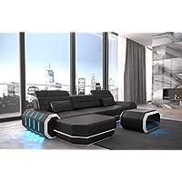 862d51a035ed44 Canapé en cuir roma en forme de l noir et blanc Canapé-lit canapé d