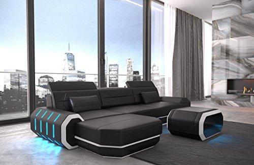 Sofa Dreams Ledersofa Roma L Form Schwarz-Weiss