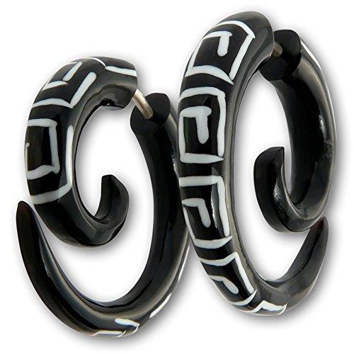Fly Style - 1 Stück - Verschiedene Modelle Fake Plug Spirale Piercings aus Holz, Horn oder Knochen, Modell:Mäander Hornspirale