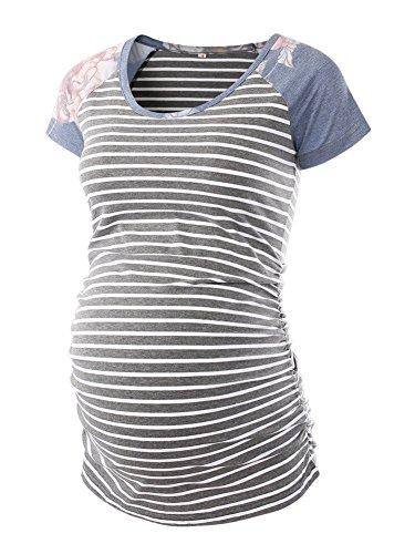 BBHoping Damen Baseball mit Rundhalsausschnitt Raglanärmel Side Ruched Maternity T Shirts Top Schwangerschaft Hemd X-Large Dunkelgrau-Streifen/Dunkelgrau Drucken - Womens Side Ruched Top