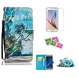 """JGNTJLS - Elegante custodia protettiva a portafoglio in pelle sintetica di PU, ultra sottile e aderente, con linguetta magnetica integrata, laccetto di colore nero, scomparto per carte di credito e supporto girevole a libretto, con pellicola salvaschermo in vetro temperato inclusa, con motivo multicolore, per Apple iPhone 5, 5S e SE da 4"""" (10,16 cm), Ecopelle, Blue,Beach, Samsung Galaxy S4 Mini (4.3' Inch)"""