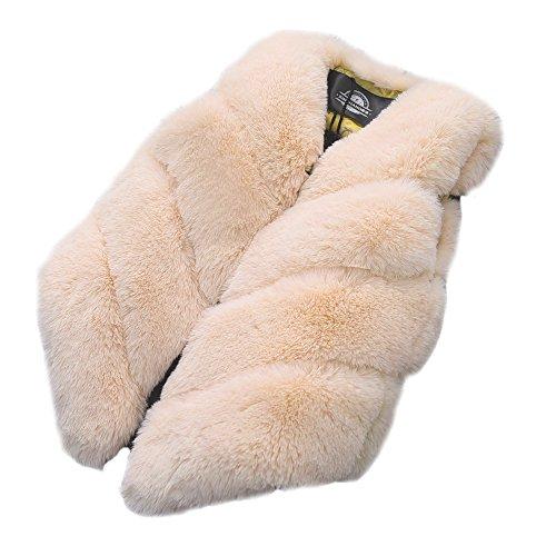FOLOBE Kind Faux Fox Pelz Mantel Jacke Weste HEI?en Winter Warm Gilet Kinder Outwear Kurze schlanke Weste (Jacke Faux Pelz Mädchen)