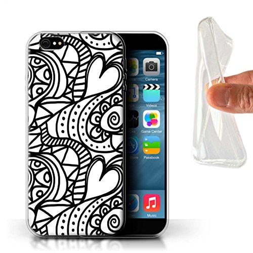 Stuff4 Gel TPU Hülle / Case für Apple iPhone 6+/Plus 5.5 / Notenblätter/Melodie Muster / Schwarz Mode Kollektion Herz Wirbelt