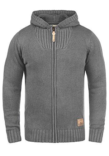 SOLID Penda Herren Strickjacke Cardigan Zip-Hoodie Grobstrick mit Kapuze aus hochwertiger Baumwollmischung Meliert, Größe:L, Farbe:Grey Melange (8236) (Hoodie Zip Strickjacke)