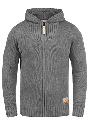 !Solid Penda Herren Strickjacke Cardigan Grobstrick Winter Pullover mit Kapuze, Größe:L, Farbe:Grey Melange (8236)