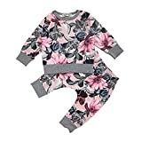Beikoard Baby Langarm Blumendruck-Pullover-Set Neugeborenes Baby Mädchen Kleidung Mantel Floral Hosen Leggings Outfits Set (6M-24M