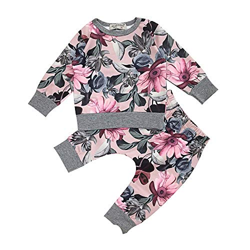 Beikoard Baby Langarm Blumendruck-Pullover-Set Neugeborenes Baby Mädchen Kleidung Mantel Floral Hosen Leggings Outfits Set (6M-24M -