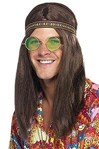 Adults-28358 Kit Hippy de Hombre, con Banda para el Pelo, Gafas y Collar, Color marrón, Tamaño único (Smiffy