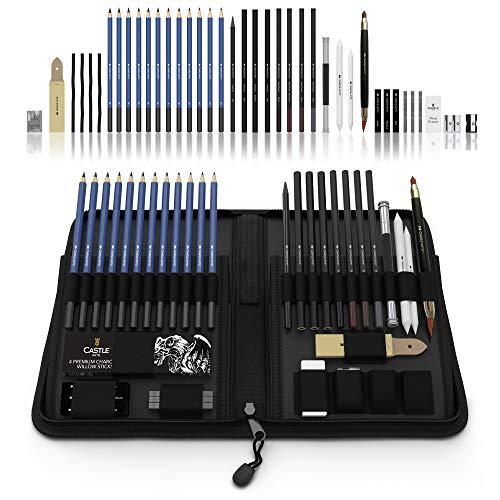 Castle Art Supplies 40 Bleistifte fürs Zeichnen und Sketch-Set in auffaltbarer Reißverschluss-Hülle - inklusive Graphit-, Pastell und Kohle-Bleistifte und -Zubehör