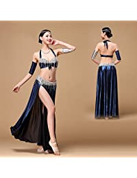 ULLK Belly Dance Professionale Argento Dorato Vestito Halter Neck Holder di  Danza del Ventre Donna Paillettes 41df10dea4fe