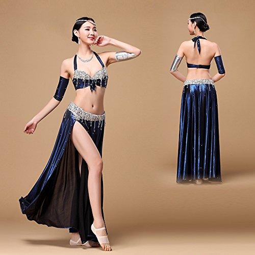 Belly Dance Profi Anzug Golden Silber Halter Bauchtanz Neckholder Damen Pailletten Perlen BH Top mit Gürtel Kleid Bauchtanz Kostüm (Blau, (Pailletten Kostüme Dance Kleid)