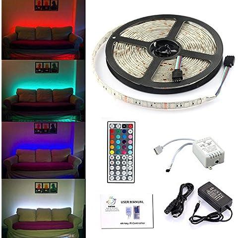 Simfonio Tiras LED Iluminación 5m 300leds Impermeable IP65 5050 SMD RGB Multicolor Tira de Led Kit Completo con Control remoto de 44 botones y fuente de alimentación 12V 5A para el Hogar