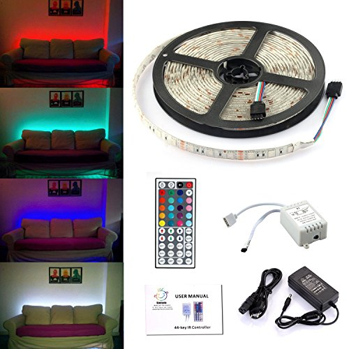 """Simfonio® Tiras LED 5050 RGB - 5m de longitud - 300 LEDs - Multicolor - Control remoto de 44 botones y fuente de alimentación - Resistente al Agua [Clase de eficiencia energética A] """""""