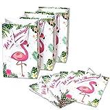 WERNNSAI Flamingo Sacs Cadeaux - 16 PCS Thème Tropical Party Favors pour Filles Enfants Durable Sacs à friandises en Papier Anniversaire de Mariage Baby Shower Bassin Articles de fête...