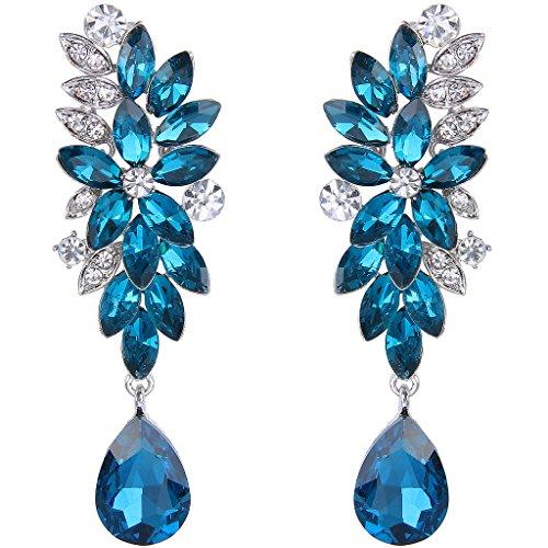 Clearine Damen Böhmisch Kristall Hochzeit Braut Blume Marquise Form Tropfen Dangle Statement Ohrringe Blau