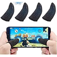 CROGIE® Gaming Touchscreen Conductive Fiber Cap Anti-Sweat Breathable Touch Finger Gloves for Mobile Phone Games Better Than PUBG Trigger,4 Pieces Pubg Finger Gloves or Sleeve (Pack of 2 Pair)