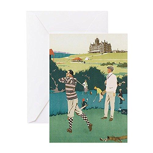 CafePress - Vintage Golf - Grußkarte, Notizkarte, Geburtstagskarte, innen blanko, glänzend -