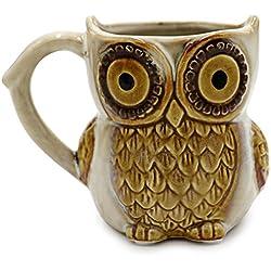 Greencherry, diseño de búhos taza de café 12oz para café té Cian, diseño de búhos café de la mañana taza de cerámica
