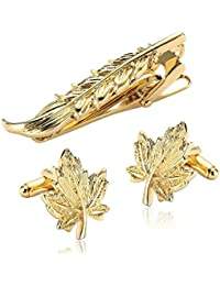 Gnzoe Stainless Steel Fashion Gold Leaf Shape Classic Men's Tie Clip And Cufflink Set