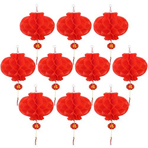 Pangda 10 Stück Laternen Dekorationen Rot für Chinesisches Neujahr, Frühlingsfest, Hochzeit, Restaurant Dekoration