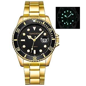 CURDDE Herren Uhren Mode Militär Edelstahl Datum Sport Quarz Analog Leuchtende Armbanduhr für Ehemann Uhr Groveerble
