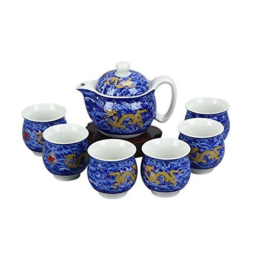 ufengke® Amarillo Chino Dragón Azul Porcelana Blanca Y Translúcida 7 Pieza Juego De Té