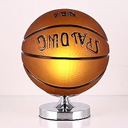 TangMengYun Lámpara de mesa moderna del baloncesto, luz decorativa creativa de la cortina del vidrio, lámpara de escritorio ligera de Dimmable del dormitorio de los niños (E27) ( Color : Basketball , Size : Dimmer switch-25*28cm )