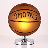 TangMengYun Moderne Basketball Tischlampe, kreative Glas Schatten dekorative Licht, Kinder Schlafzimmer Dimmable Licht Schreibtisch Lampen (E27) (Color : Basketball-Button switch-25 * 28cm)