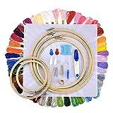 88-teiliges Stickerei-Set mit Bambus-Stickrahmen, Farbfäden und Kreuzstich-Werkzeug für Anfänger