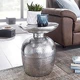 FineBuy Design Beistelltisch Delia Aluminium Dekotisch Orientalisch Rund | Designer Ablagetisch Metall Modern | Anstelltisch Schmal | Kleiner Hammerschlag Abstelltisch