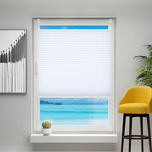 Plissee ohne Bohren, 50x120cm Plissee-Jalousie leicht zu montieren & verspannt mit Klemmfix für Fenster & Tür, Sichtschutz ohne Verdunkelung- Weiß