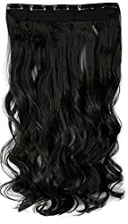Majik Curly/ Wavy Full Head Clip-in Hair Extensions,.BLACK