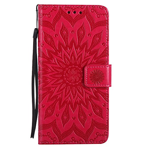 Pour Apple IPhone 7 Plus Case, Embossing Sunflower Magnetic Pattern Premium Soft PU Leather Wallet Stand Housse avec cordon et porte-cartes et embouts de cartes ( Color : Brown ) Red