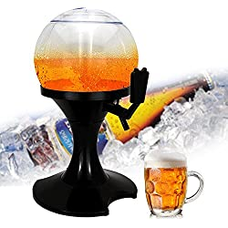 UMIWE Globe Bière Distributeur de Boissons, 3.5l d'air Froid de Table Bière/Boissons Distributeur de Tour de Boisson avec Core de Glace pour fête Bar Maison Bière Festival