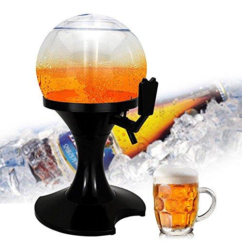AOLVO Kunststoff Getränke Spender mit Ständer 1Liter Tischplatte Bier Tower mit Ice Cube Case Keep Saft und Getränke kalt perfekt für Hochzeiten oder Reisen Outdoor Aktivitäten