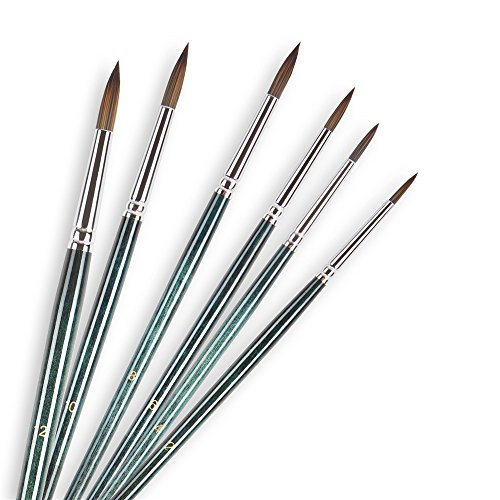 Artist Paint Brush Set Conda 6 Piece Nylon Hair Long Handle Oil/Acrylic/Watercolor Brush Set for Detailing & Art Painting Models, Airplane Kits, Nail Artist Supplies, Vintage Green by Conda