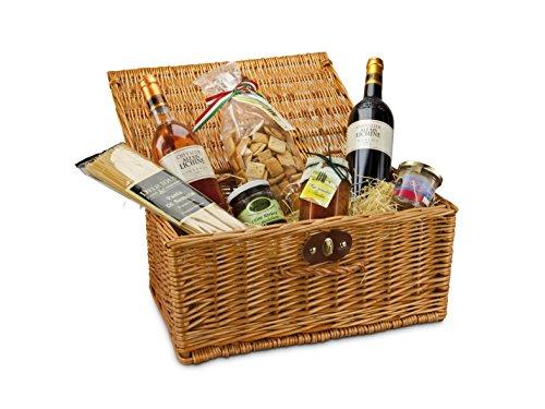 Geschenkset: 1 Weidenkorb mit 1 Auswahl italienischer Feinkost-Spezialitäten incl. 2 Fl. Rotwein