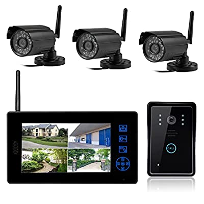 SYSD 818MJWD3 7 inch LCD Color HD Indoor Doordell with 3 Surveillance Camera  CBDFG