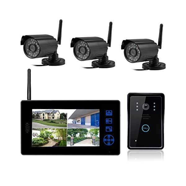 SYSD 818MJWD3 7 inch LCD Color HD Indoor Doordell with 3 Surveillance Camera SYSD 2.4 G transmission frequency, barrier-free communication distance of about 150 m; USES the digital processing technology, automatic wireless transceiver functions, good performance, high reliability; indoor machine use TFT true color display 7 inch digital; 1
