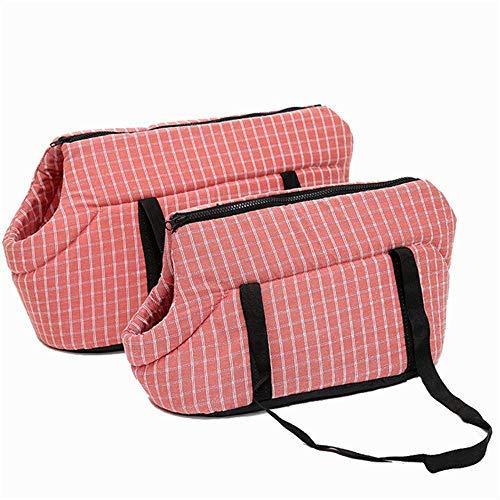 RuiHuang Soft Pet Dog Taschen Geschütztes Tragen Rucksack Outdoor Pet Dog Carrier Hundetasche Puppy Travel für kleine Hunde Pink Plaid L43cmX24cmX30cm -