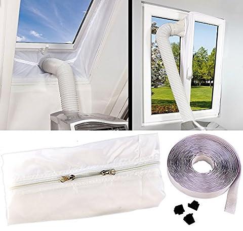 Sichler Haushaltsgeräte Fenster Klimaanlage: Abluft Fensterabdichtung für mobile Klimageräte, Hot Air Stop (Fensterdurchführungen für