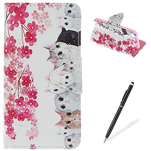 iPod Touch 5/6 Case,iPod Touch 5/6 Wallet Case,MAGQI Premium Flip PU Leather Money Pouch Case Colorful Painting Petals Pattern [Stand Function] [Magnetic Closure] Protective with Card Slots Bult-in Soft Inner Bumper Book Style Cover for iPod Touch 5/6 - Cats