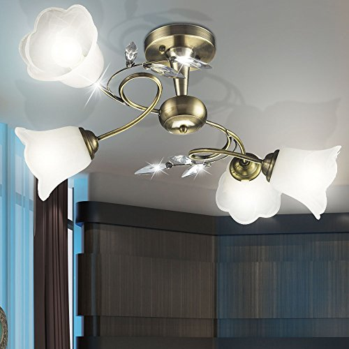 Antike Messing Glas Beleuchtung Landhausstil Lampe Wohnzimmer Leuchte