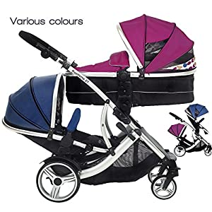 Kids Kargo Duellette 21 BS Combi Tandem Double Twin pushchair NEW COLOUR RANGE! (Raspberry carrycot - newborn/Blueberry seat - toddler 6mth +) kk KinderKraft Five point safety straps for the shoulders and an additional strap between the legs to protect the child from falling out A mechanism that connects the parent handlebar with the child's handlebar so that parents can have full control over the bike guidance when required. Free-wheel that causes the child to rmble freely regardless of the person who leads the bike 12