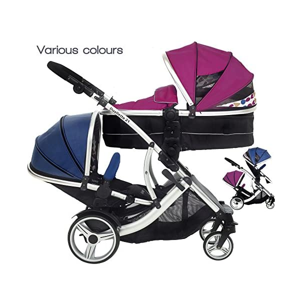 Kids Kargo Duellette 21 BS Combi Tandem Double Twin pushchair NEW COLOUR RANGE! (Raspberry carrycot - newborn/Blueberry seat - toddler 6mth +) Kids Kargo Ideal for newborn baby girl and and older son (6mth+) Various seat positions. Accommodates 1 or 2 car seats Carrycot (raspberry) converts to seat unit incl mattress. Toddler seat (blueberry) from 6 months 1